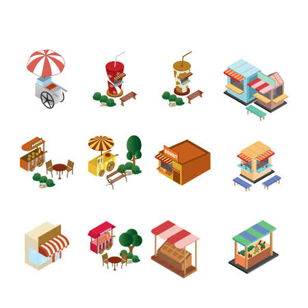 set of food stall icons