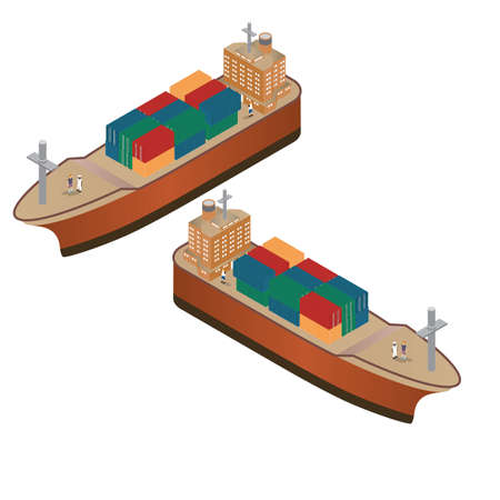 isometric container ships