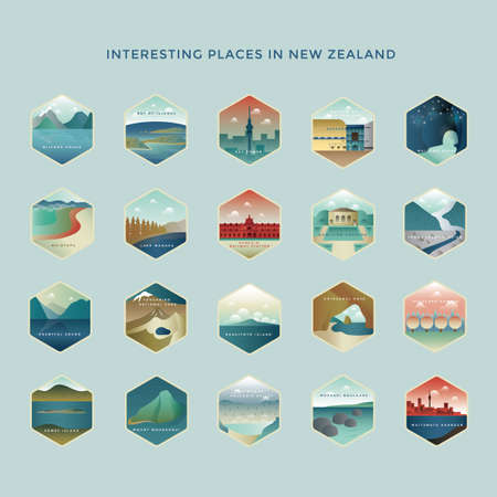 Set di icone di destinazioni nuove Zelanda