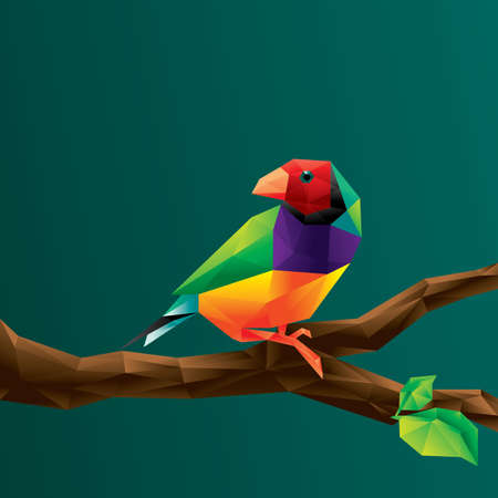 bird on tree branch Ilustracja