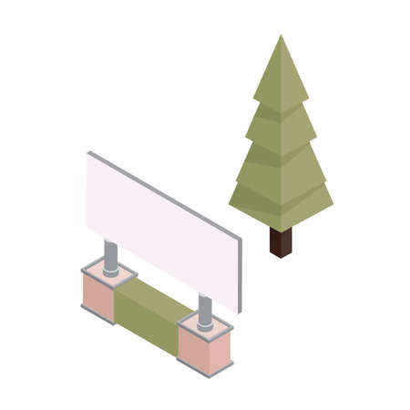 isometric board and pine tree