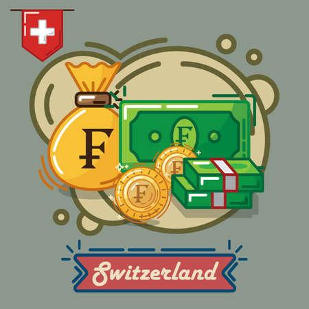スイス フラン通貨  イラスト・ベクター素材