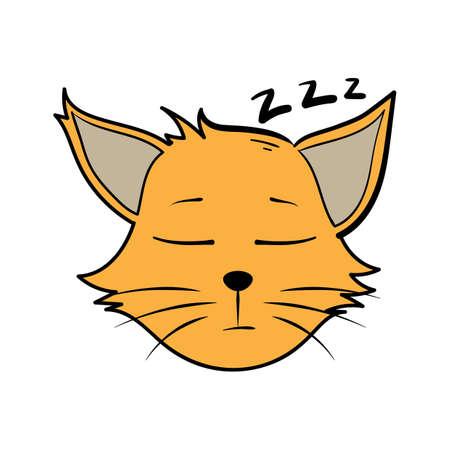 眠っている漫画猫  イラスト・ベクター素材