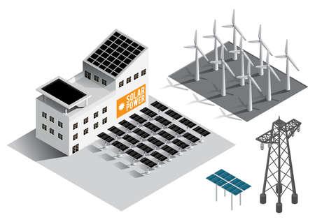 Verzameling van apparatuur voor isometrische energieopwekking Stock Illustratie
