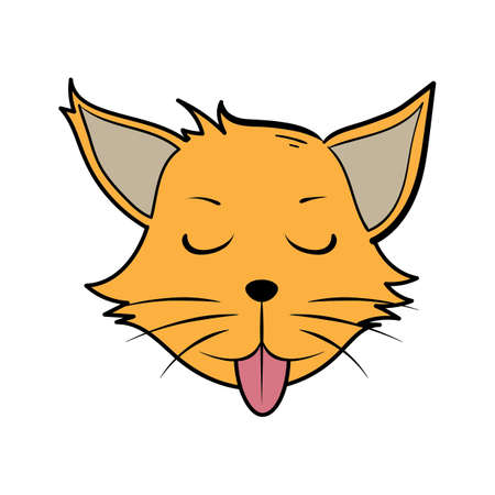 cartoon cat with tongue out Illustration