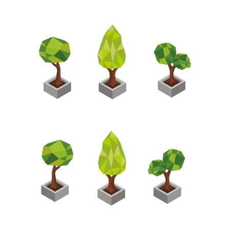 isometric potted trees Ilustração