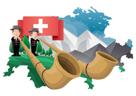 switzerland alphorns with mountain alps Çizim