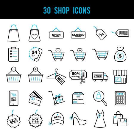Ensemble d'icônes de magasin Banque d'images - 79217647