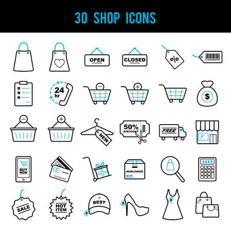 set of shop icons Çizim