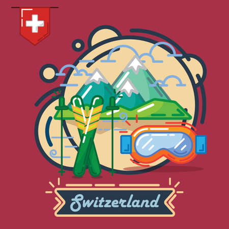 winter sports in switzerland Illustration