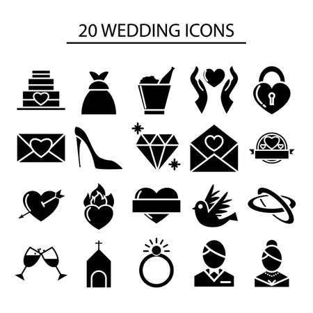 set van bruiloft iconen