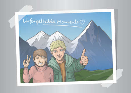 photograph of a couple with swiss alps Illustration