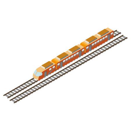 isometrische trein met spoorweg Stock Illustratie