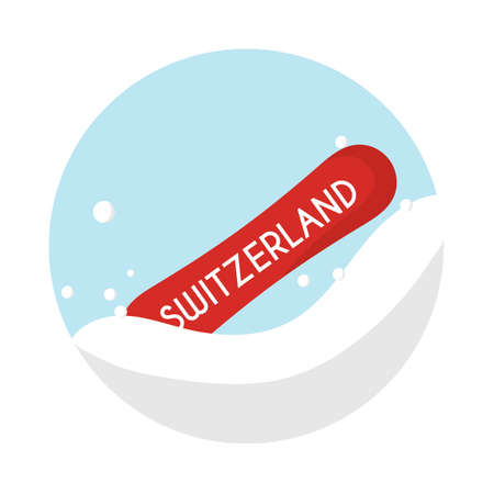 Switzerland snowboard Illustration
