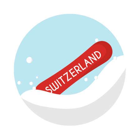Switzerland snowboard Иллюстрация