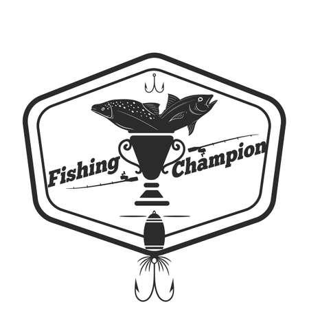 Fishing champion label Illustration