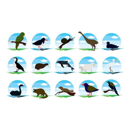 ニュージーランドの動物アイコンのセット  イラスト・ベクター素材