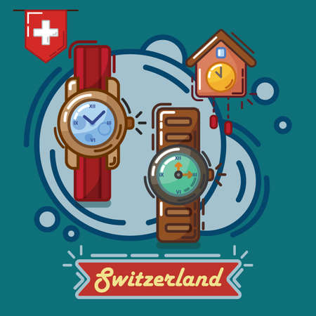 swiss made clock and wrist watches Stock Vector - 79217697