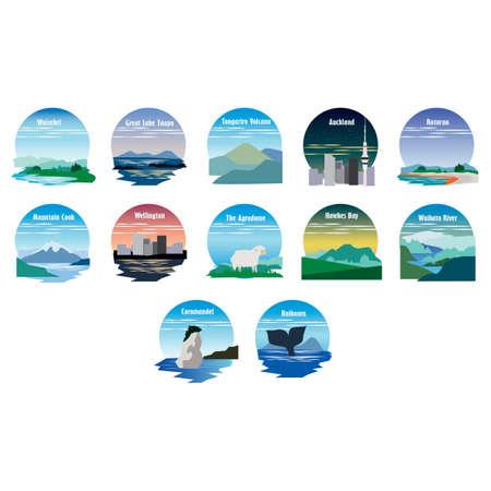 Conjunto de iconos de destinos de nueva zelanda Ilustración de vector