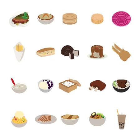 Conjunto de iconos de comida taiwanesa Ilustración de vector