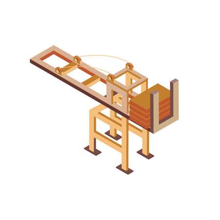 Isometrische containerkraan Stock Illustratie