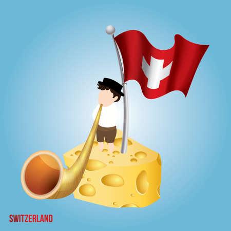 Switzerland cheese and alphorn vector illustration.