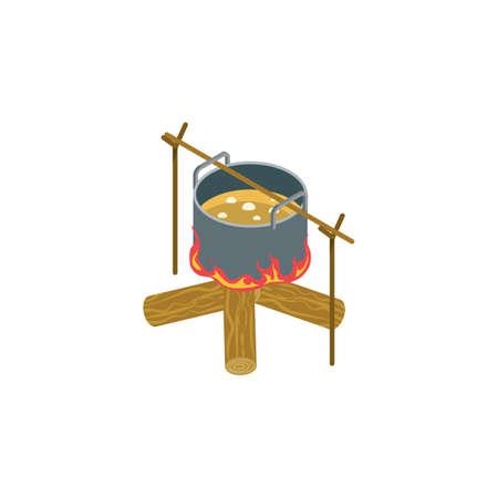 Kampvuur met kookpot