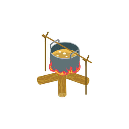 Campfire with cooking pot Illustration
