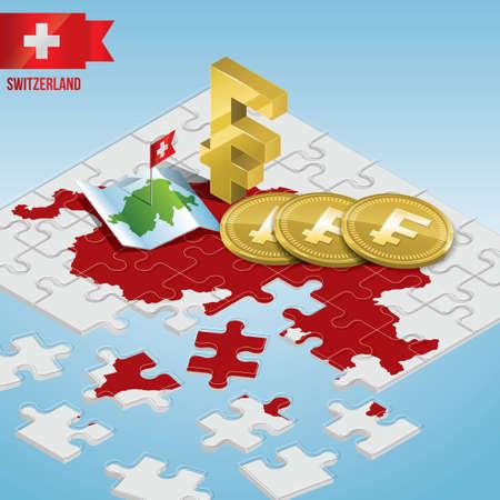 Jigsaw puzzle of Switzerland concept vector illustration. Reklamní fotografie - 79323130
