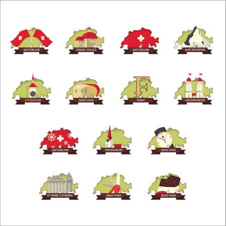 set of switzerland icons