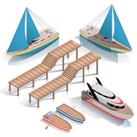 A collection of isometric boats and jetty.