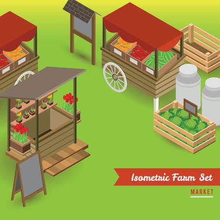 Ensemble d'icônes du marché agricole Banque d'images - 79217606