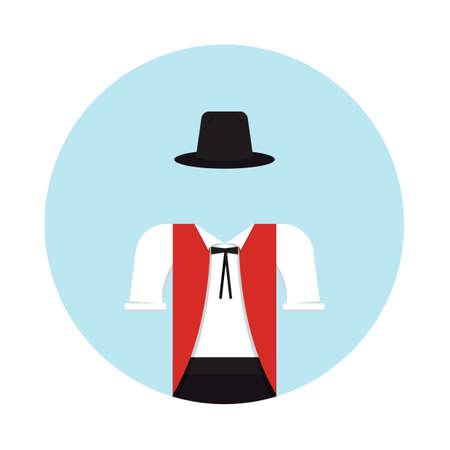 스위스 전통 의류 일러스트