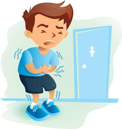 boy having stomachache Illustration
