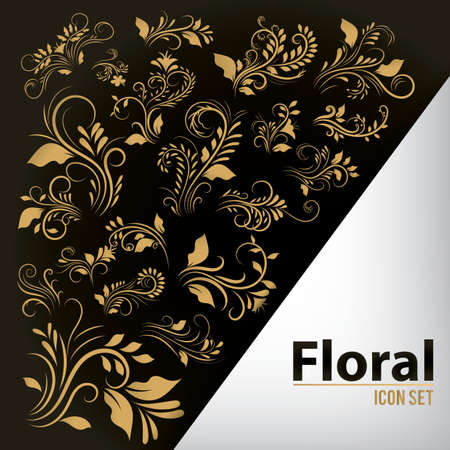 set of floral icons Illustration