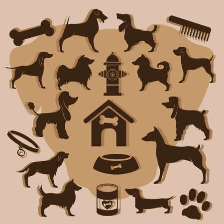 collection of dog icons Illustration