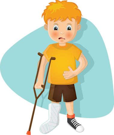骨折した足を持つ少年