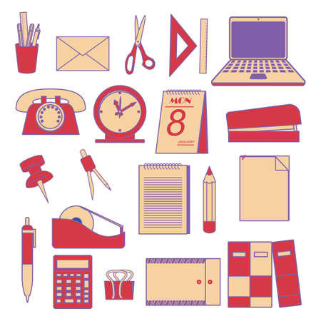 Sammlung von Büro-Tools Standard-Bild - 79143933