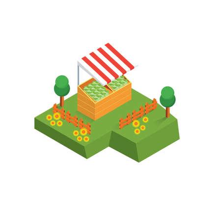 fruit stall Ilustrace