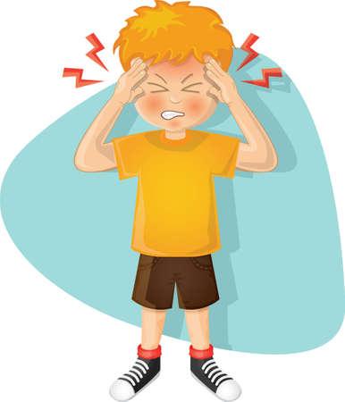 garçon avec un mal de tête