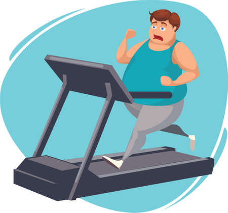 Gros homme courir sur tapis roulant Banque d'images - 79144161