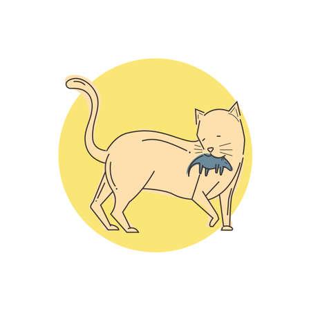rat caught by cat Illustration
