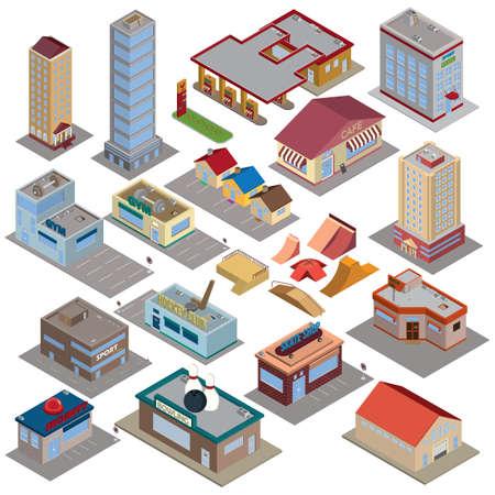 isometric city icons