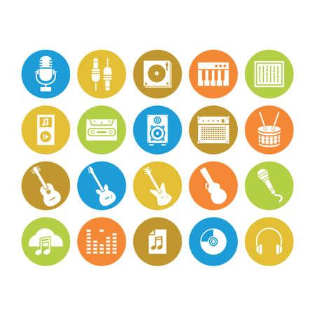 set of audio icons Illustration
