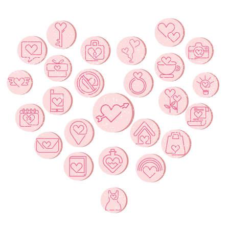 pocima: un conjunto de iconos del día de San Valentín