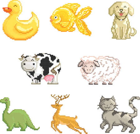 collection of pixel animals