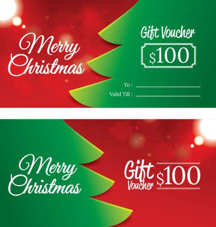 christmas gift voucher 向量圖像