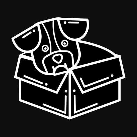 Hond in een doos Stockfoto - 79218092