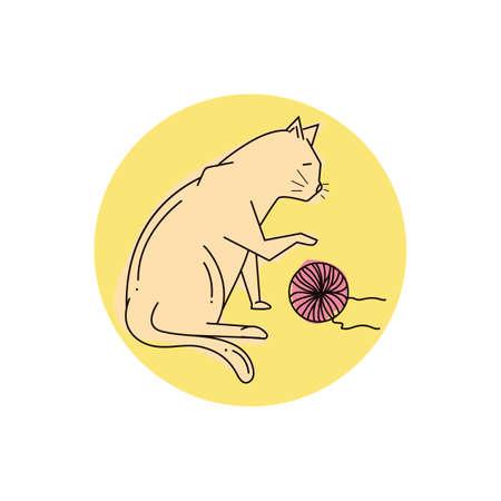 羊毛ボールで遊ぶ猫