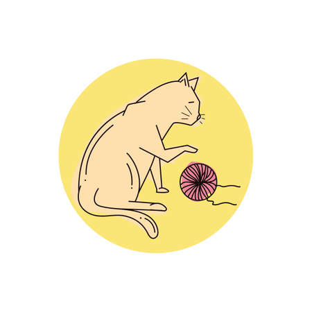 Katze spielt mit Wollball Standard-Bild - 79218119